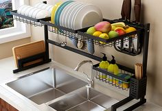 Black stainless steel kitchen rack sink sink dish rack drain bowl rack dish rack kitchen supplies storage rack - easy home diy Home Decor Kitchen, Diy Kitchen, Home Kitchens, Diy Home Decor, Kitchen Racks, Awesome Kitchen, Beautiful Kitchen, Kitchen Layout, Kitchen Sink Design