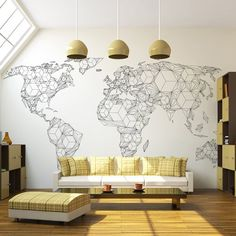 Fototapete Map of the World - white solids 231 cm x 300 cm East Urban Home Le Lighting, Home Interior, Interior Design, Deco Stickers, World Map Wallpaper, Wall Decor, Room Decor, Geometric Wallpaper, Home Projects