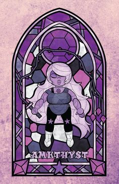 Behold, the first in my new series of Steven Universe fanart! Done in the artistic style of stained-glass windows. I used Adobe Illustrator to create the outline of Amethyst and the window and used...