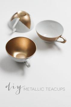 DIY Metallic Teacups