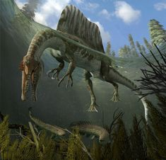 New Stars in the Dinosaur World, PM Magazin April 2015. Spinosaurus aegypticus. Art by Román García Mora.