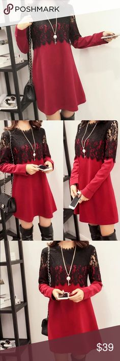 """Red Lace winter dress Fitted style, great match with long boots or leggings                                                               .  bust/shoulder/length US XS.   33""""/15.4""""/31"""" US S.     34.5""""/15.7/31.5"""" US M.    36""""/ 16.1""""/31.8"""" US L.     37.8""""/16.9""""/32.3"""" US XL    39.4""""/17.7""""/32.6"""" Dresses"""