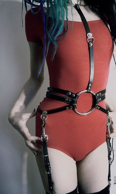 Three Strap Waist Cincher with Detachable Garters by RottenHide, $145.00