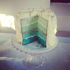 tiffany blue layered cake - roses on top