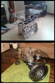 Engine block and crankshaft(w/ pistons) being re-purposed as tables...NIIICE...