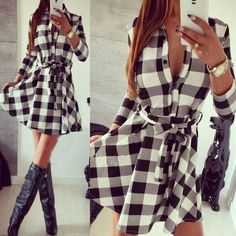Women's Checkered Plaid Dress - 2 Colors Usually ships out within 2-3 business days depending on color/size availability. Description: Gender: Women Fabric Type: Knitting Sleeve Style: Regular Decorat
