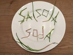 Salsola soda spelled out with agretti pieces