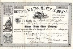 Beautifully engraved certificate from the  Boston Water Meter Copmany  issued in 1884. This historic document was printed by Alfred Moore & Son, Printers and has an ornate border around it with a vigne