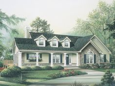 Love this house plan. Love that the laundry room is by the bedrooms! Elevation of Cape Cod Country Ranch House Plan 86970 Colonial House Plans, Country Style House Plans, Ranch House Plans, Country Style Homes, Dream House Plans, House Floor Plans, Luz Natural, Monster House Plans, House Plans And More