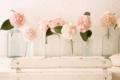 Vintage glass bottle centerpieces with pink garden roses; via Dreamy Whites Peach Flowers, Beautiful Flowers, Fresh Flowers, Simply Beautiful, Pastel Flowers, White Flowers, Lotus Flowers, Pretty Roses, Pastel Floral