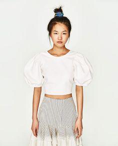 Image 2 of DENIM CROP TOP from Zara