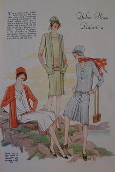 Yokes have distinction, Woman's Journal, 1927 20s Fashion, Fashion History, Art Deco Fashion, Retro Fashion, Vintage Fashion, Classic Fashion, Female Fashion, Flapper Style Dresses, 1920s Dress