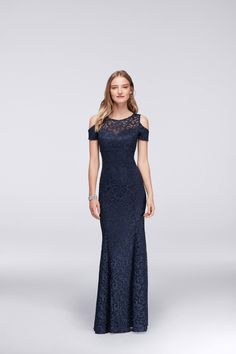 Navy Cold Shoulder Lace Mermaid Mother of the Bride Gown from David's Bridal