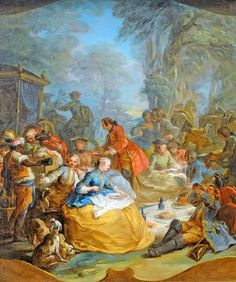 The picnic after the hunt, 1738 by Carle or Charles-Andre van Loo (1705-1765)