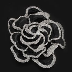 qvc Rare Joan Rivers Silvertone Dazzling Black Enamel Rose Pin Limited 838J #JoanRivers #Pin