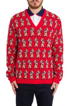 Gucci Piglets Sweater In Rosso Piglets, Gucci Fashion, Christmas Sweaters, V Neck, Shirt Dress, Wool, Mens Tops, Clothes, Shopping
