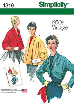This Simplicity 1319 195 Retro P attern features Misses' set of Jackets sizes 22 P attern and Directions. Retro jackets feature cut in 1 sleeve; front & back, A & B collar turns back full length of jacket & forms pocket. Retro Vintage, Motif Vintage, Vintage Style, Vintage Designs, 1950s Style, Retro Chic, Vintage Glamour, Retro Style, Simplicity Sewing Patterns