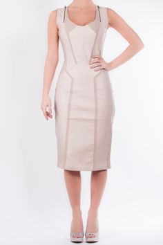 c6afeb466fc3 Mimi - Very fashion forward with leather look nude fabric that s bang on  trend for summer. The midi cut and panelling flatter every body shape.