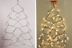 Take down a picture that hangs year-round and replace it with a homemade Christmas tree made from one string of lights and 13 hangers.  The kids will love this easy, DIY project and your walls will thank you for the uplifting holiday facelift!  ♫ Pin the Season!