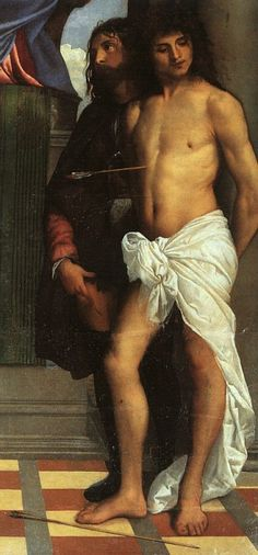 TIZIANO ST MARK ENTHRONED WITH SAINTS DETAIL 1510 CHURCH. Тициан (Тициано Вечеллио)