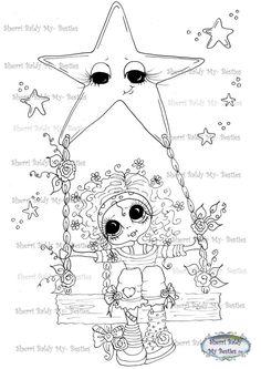 SOFORT-DOWNLOAD digitale Digi Briefmarken großes Auge großer Kopf Dolls IMG213 Swinging on a Star meine friends von Sherri Baldy