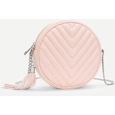Tassel Detail Ball Design Chain Bag ❤ liked on Polyvore featuring bags, handbags, ball purse, chain bags, chain handbags, tassel purse and fringe tassel bag