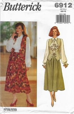 Butterick Sewing Pattern 6912 B6912 Misses Sizes 6-10 Easy Vest Blouse Jabot Skirt    Butterick+Sewing+Pattern+6912+B6912+Misses+Sizes+6-10+Easy+Vest+Blouse+Jabot+Skirt