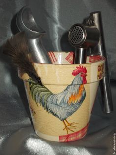 Collage serviette papier & accessoires - Coq - Pot Diam.12cm - Décoration -.  Blog : http://broderiemimie44.canalblog.com/