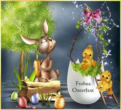 We wish you a happy Easter. Best regards Helga and Franz - Easter Day Easter Bunny Pictures, Cute Kids Pics, Just Magic, Hens And Chicks, Smiley, Happy Easter, Easter Eggs, Origami, Decoupage