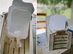 wedding ceremony programs ... like the ribbon accents and twine on the box handls
