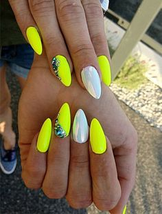77 Bright Neon Nails to Try This Summer What better way to enjoy this Summer than bright neon nail colors? Here, we found 77 nail designs with all the classic Summer colors! (bright yellow, orange, and hot pink just to name a few). Neon Nail Art, Neon Nails, Cute Nails, Pretty Nails, Hair And Nails, My Nails, Nail Manicure, Nails Yellow, Best Acrylic Nails