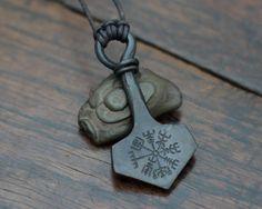 Vegvisir engraved Mjolnir pendant, Extra large and heavy Thor's hammer pendant