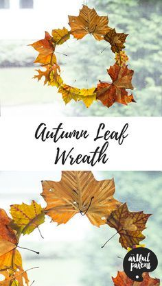 Create This Simple DIY Autumn Leaf Wreath For Fall! This Autumn leaf wreath looks gorgeous in the window with light shining through the fall leaves. Beautiful and super simple to make! Autumn Leaves Craft, Autumn Crafts, Nature Crafts, Fall Leaves, Thanksgiving Crafts, Autumn Activities For Kids, Crafts For Kids To Make, Art For Kids, Fall Preschool