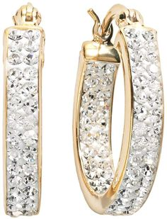 bf92a385e64d5 Swarovski Sterling N Ice Sterling  N  Ice Gold Over Silver Crystal Hoop  Earrings - Made with Crystals