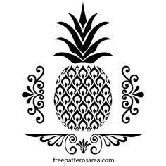 pineapple freepatternsarea stencil svg vector drawing template