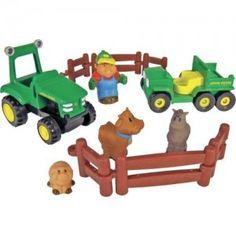 Playset Ferme John Deere - Coffret Fun à la ferme - A partir de 2 ans : Ensemble de figurines et tracteurs pour des heures d'imagination