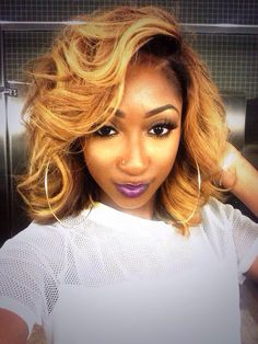 Wigs For Black Women - Lace Front Wigs, Human Hair Wigs, African American Wigs, Short Wigs, Bob Wigs Love Hair, Gorgeous Hair, Bob Hairstyles, Straight Hairstyles, Quick Weave Hairstyles, Curly Hair Styles, Natural Hair Styles, Look 2015, Pelo Afro
