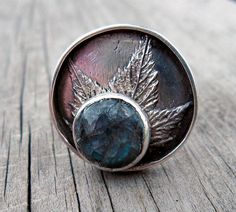 Labradorite and maple leaf silver ring