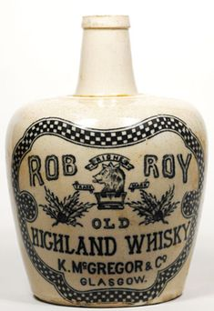 WB386, 165mm tall, all white stoneware Whisky Jug, Rob Roy Old Highland Whisky K McGregor & Co Glasgow, Port Dundas… / MAD on Collections - Browse and find over 10,000 categories of collectables from around the world - antiques, stamps, coins, memorabilia, art, bottles, jewellery, furniture, medals, toys and more at madoncollections.com. Free to view - Free to Register - Visit today. #Whisky #Collectables #MADonCollections #MADonC Old Bottles, Antique Bottles, Liquor Bottles, Glass Bottles, Beer Bottle, Whiskey Bottle, Highland Whisky, Whisky Club, Oldest Whiskey