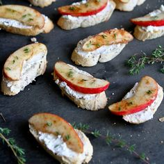 Straight from my son's imagination  apples, cinnamon and goat cheese come together into one fantastic crostini appetizer or snack.