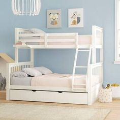 Viv + Rae Granville Twin Over Full Bunk Bed with Trundle Bed Frame Color: White Bunk Beds For Girls Room, Bunk Bed Rooms, Kid Beds, Bunk Beds With Drawers, Bunk Bed With Desk, Bunk Bed With Trundle, Full Bunk Beds, Awesome Bunk Beds, Double Deck Bed