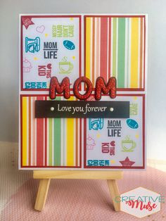 I had been very busy for the past few weeks but I want to share with you this card that I made just in time for Mother's Day. I used to create cards for my mom when I was a kid. Create Your Own Card, Mother's Day Greeting Cards, Red Glitter, American Crafts, Ink Pads, Happy Mothers, Clear Stamps, Pattern Paper, Diy Cards