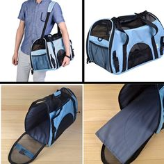 Pesp® Portable Pet Dog Cat Travel House Carry Carrier Shoulder Bag Tote Handbag Blue Small * See this great product.