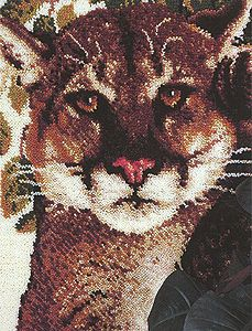 """Cougar 30"""" x 39"""" (76.2x99.1 cm) latch hook rug kit. Kit comes complete with design stamped on 3.3 mesh latch hook canvas, yarn is 2 x 3 ply pre-cut acrylic rug yarn (equivalent to 6 ply) and complete instructions."""