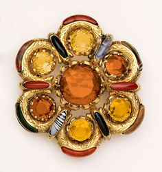 Victorian - Wonderfully dramatic and colorful citrine, Scottish agate and gold brooch. Note the splays of inlay gems between the citrines. Agate Jewelry, Jewelry Art, Gold Jewelry, Jewelery, Fine Jewelry, Women Jewelry, Fashion Jewelry, Jewelry Making, Gold Brooches