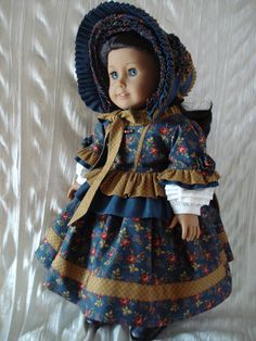 1850's  2 piece gown with bonnet chemise by DollSizeDesigns, $225.00