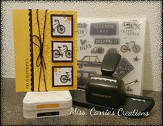 Our Stamp of the Month, The Long Way Home, can be used for cards and scrapbook pages. This CTMH card is a simple yellow and black card using the bike stamp from the set. Order your set for $5.00 with a qualifying order at www.misscarrie.ctmh.com