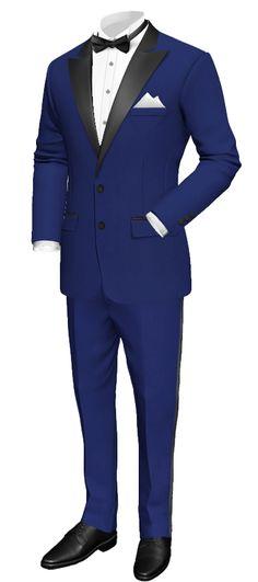 royal blue tux with black satin