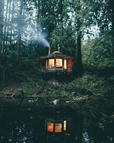 Architecture – Come Hideaway in Lake George, NY Cabins In The Woods, House In The Woods, Cottage In The Woods, Little Cabin, Forest House, Forest Cabin, Forest Cottage, Lake Forest, Cabins And Cottages