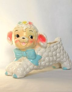 Cute Lamb Planter Vintage Baby Ceramics